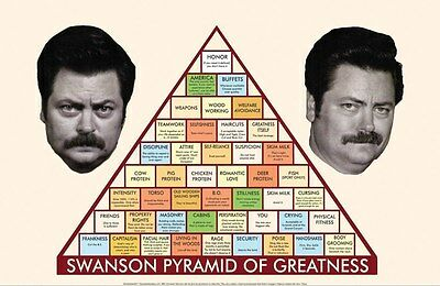 PARKS AND RECREATION RON SWANSON PYRAMID OF GREATNESS 24x36 poster POEHLER AZIZ