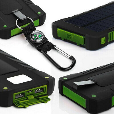 Solar Power Bank Waterproof Charger Backup 2USB 50000mAh Battery For Cell Phone