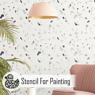 TERRAZZO Stencil for Painting | Modern Marble Wall Furniture Stencil