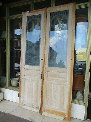 Pair Of Antique Pine Chateau Double Doors  With Decorative Glazed Panels