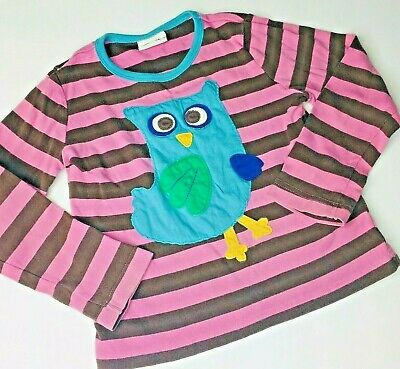 Girls Mini Boden Shirt Long Sleeve Tee Size 3-4 Years Owl Applique Striped