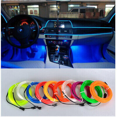 5M CAR INTERIOR LED Neon Light Kit Foot Decorative El Wire String Strip  Charger