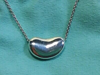 88a0a656a Tiffany & Co Sterling Elsa Peretti Extra Large 20mm BEAN PENDANT NECKLACE  ...