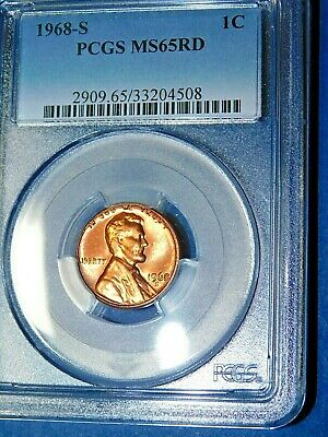 1968-S 1C RD Lincoln Memorial Cent-PCGS MS65RD--114-1