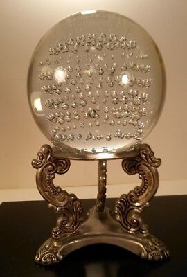 Glass Sphere Paperweight Controlled Bubbles Large - Godinger Metal Scroll Stand