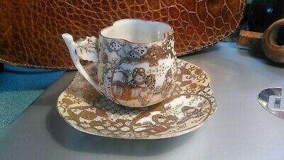 Antique Chinese Porcelain Demitasse Bone China Gold Pattern The Cup & Saucer