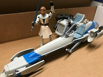 STAR WARS CLONE WARS FREECO SPEEDER with OBI-WAN KENOBI
