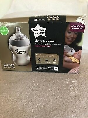 Tommee tippee Box Of 3 Closer To Nature 9oz Baby Bottles With Anti-colic Valve
