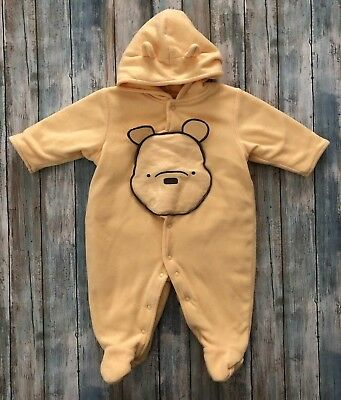 2bb5e98b9 Disney 3-6 M Winnie the Pooh Classic Yellow Bunting Snowsuit Fleece Hooded  EUC