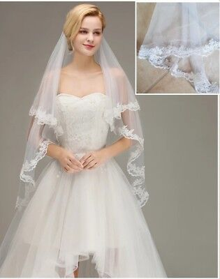 UK White Ivory 2 Tier Fingertip Length Bridal Wedding Veil Lace Edge With Comb