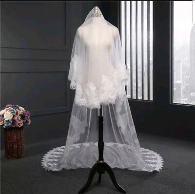 LUXURY 3M White Ivory Lace Flower 2 Tier cathedral Bridal Wedding veil with comb