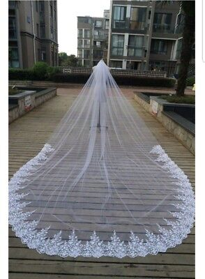 UK 3 × 2 Meters Lace Edge 1 Tier Long Cathedral Length Bridal Wedding Veils