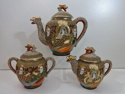 Vintage Japanese Satsuma Teapot lidded Jug and bowl tea set Dragon spout lid