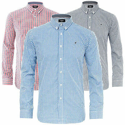Mens Long Sleeve Casual Shirt Button Down Gingham Plus Sizes Kangol S-6XL