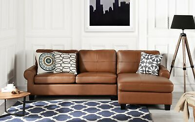 LEATHER MATCH LIGHT Brown Sectional Sofa L-Shape Modern ...
