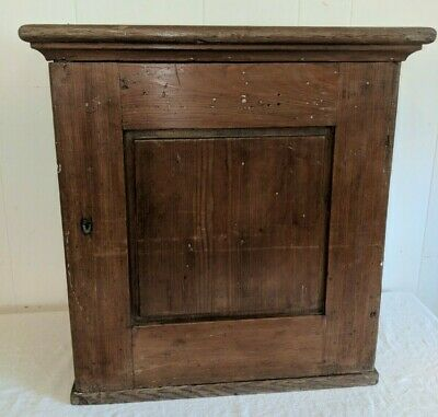 Small Antique Wood Cabinet Cupboard Old Light Blue Paint & Divided Inside