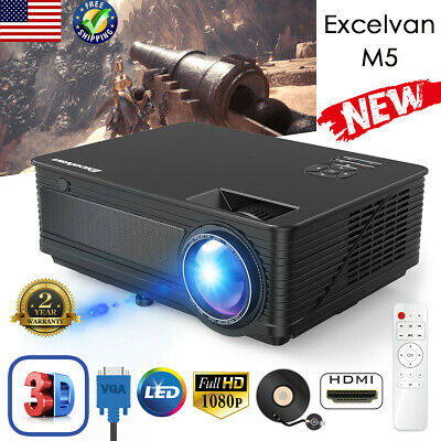 """LED 3D Video Projector 120"""" FHD 1080P HDMI USB Multimedia Home Theater 5000Lumen"""