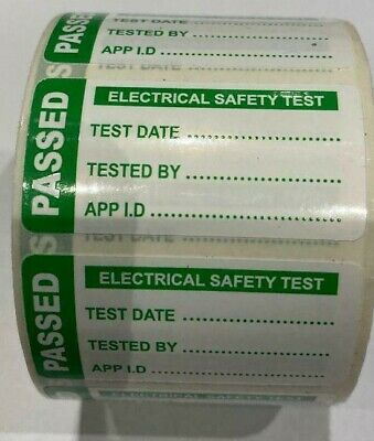 Pat Test Labels  Stickers Portable Appliance Test Passed Glossy