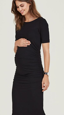43591d3807c45 Ruched Black Isabella Oliver Maternity T-Shirt Formal Work Dress Size 4 (UK  14