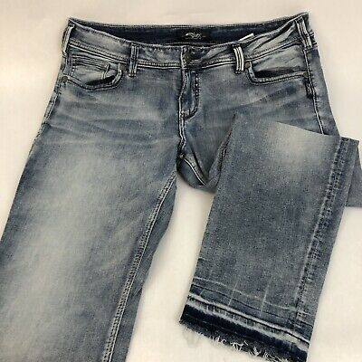 f65fec74 Silver Womens AVERY Light Wash Released Hem Ankle Skinny Blue Jeans Size 36  X 27