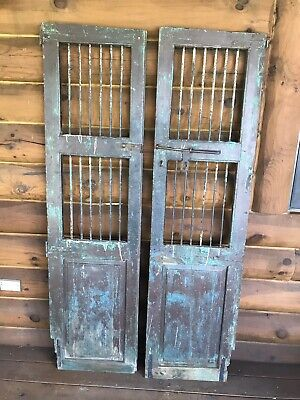Antique Architectural Salvage Wood Wine Cellar Doors Iron Bars Solid