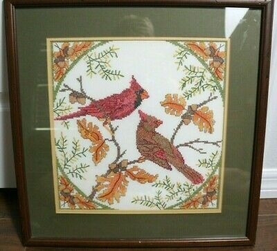 Vintage Framed Needlepoint Cross Stitch Picture Red Cardinal Birds Complete