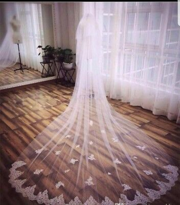 UK 3 Meters White/Ivory 2 Tier Cathedral Wedding Veil With Comb Lace Edge
