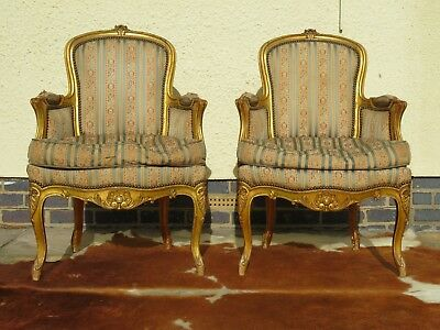 Amazing Pair Antique French Louis Xvi Style Gilt Wood Arm Chairs (Gold Leaf)