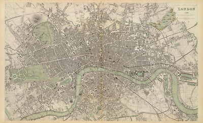 London Antique Old Map 1843 High Definition PDF Kensington Gardens, River Thames