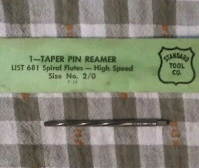 Standard Tool Co. Taper Pin Reamer Spiral Flutes High Speed No 2/0. Nos