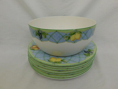 Mikasa Casual Classics Optima Y4001 Fruit Rapture Serving Bowl + 7 Dinner Plates