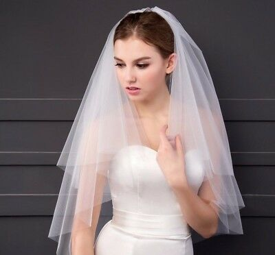 UK White Ivory 2 Tier Elbow Length Wedding Veil With Comb Soft Tulle Cut Edge