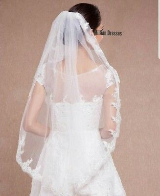 UK 1 Tier White Ivory Bridal Wedding Veil Elbow With Comb & Lace Edge 34""
