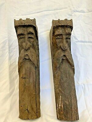 Antique Pair of Hand Carved Wooden Corbel Circa 1800's, Folkart, Mans face