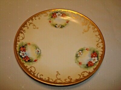 ANTIQUE LIMOGES FRANCE D & Co. HAND PAINTED PLATE c. 1894 - 1900 WREATHS