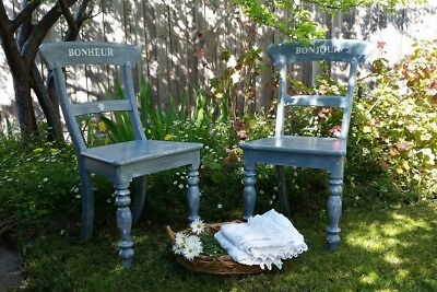 Pair of vintage shabby chic french provincial chairs