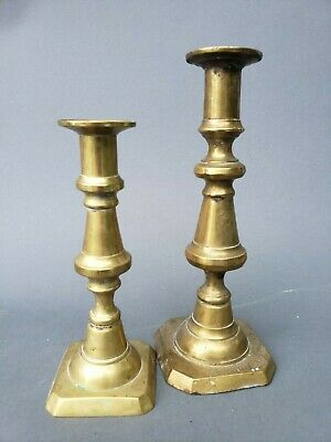 two antique solid brass push-up candlesticks 19th century