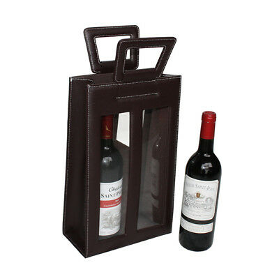 Leather Red Wine carrier bag brown Gift Bags for 2 double bottle