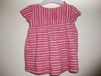 Baby Girls Pink & White Striped Short Sleeved Dress - Age 3-6 Months