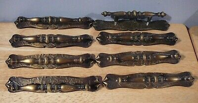 8 Amerock Carriage House Brass Drawer Handles with Back Plates