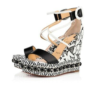 86f2046f413 CHRISTIAN LOUBOUTIN CHOCAZEPPA 120 Black White Wallgraf Platform Wedge  Sandal 36
