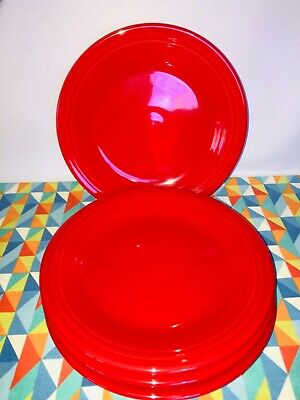 "NEW Fiestaware SCARLET 10.5"" Dinner Plates set of 4 red FIESTA"