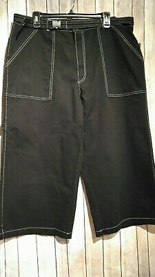 Wild Fable Black Belted Wide Leg Contrast Stitch Pant Capri sizes 00,2,4,8 B118