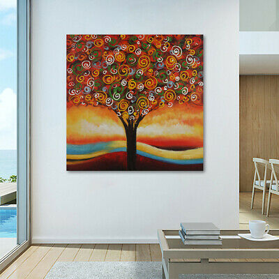 On Canvas Modern Art Oil Painting Handmade Wall Decor With Frame Colorful Tree