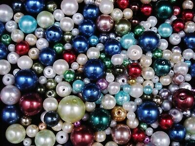 Glass Pearl Beads Mix Colours 50g (Range4) Jewellery Jewelry FREE POSTAGE