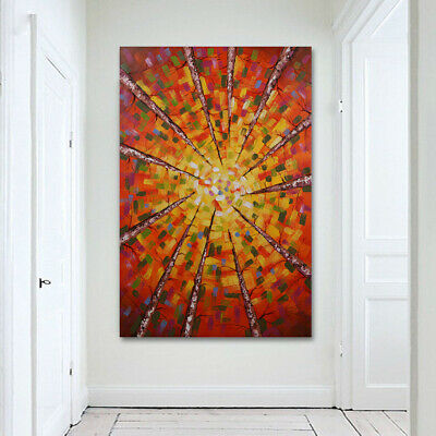 80x120cm Birch Tree On Canvas Modern Hand Draw House Decor Abstract Oil Painting