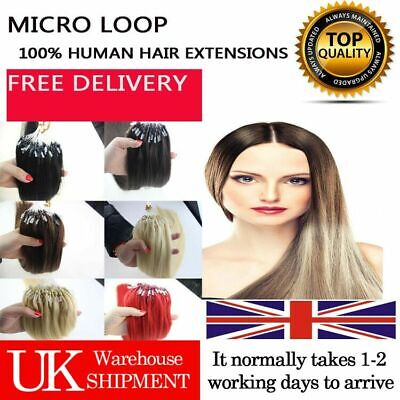 """14""""-26"""" Remy Micro Ring Easy Loop Beads Russian Human Hair Extensions 100s UK"""