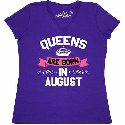 c35a8ae2 Inktastic Queens Are Born In August Women's V-Neck T-Shirt Birthdays Adult  Queen