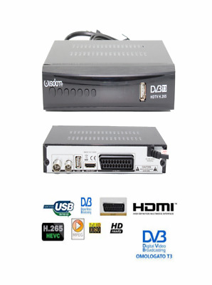 Decoder Digitale Ricevitore Dvb-T3 Tv Scart Hdmi Full Hd 1080P