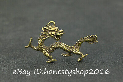 Old China Bronze Copper Carving Fengshui Zodiac Dragon Pendant Amulet Necklace